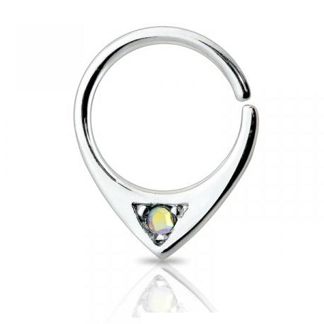 Single AB Crystal Bendable Septum / Daith / Ear Piercing Ring