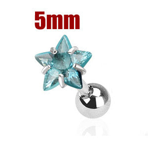 5mm Blue Star Triple Helix Stud Cartilage Earring | Piercing Cartilage Triple Helix Etoile Bleue 5mm