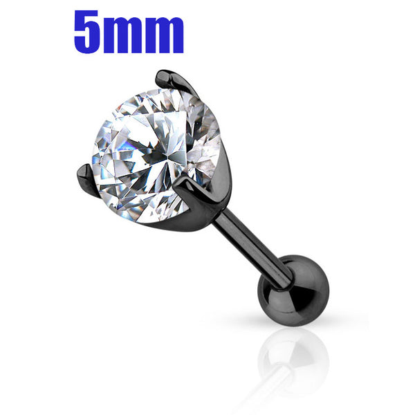 5mm Crystal Cartilage Helix Earring, Black Tragus Piercing Stud | Piercing Cartilage Helix Cristal 5mm, Tragus Noir