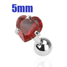 5mm Red Heart Triple Helix Stud Cartilage Earring | Piercing Cartilage Triple Helix Coeur Rouge 5mm