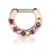 Rose Gold Aurora Borealis Gem Septum / Daith Clicker