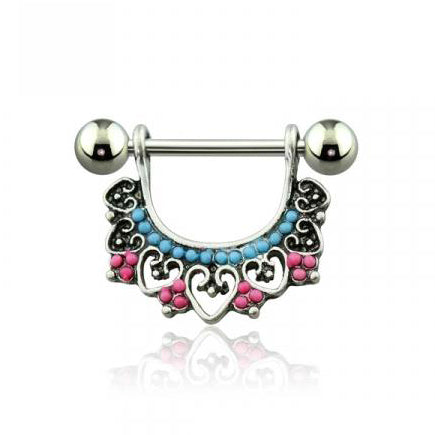 Acrylic Bead Vintage Heart Shaped Nipple Ring