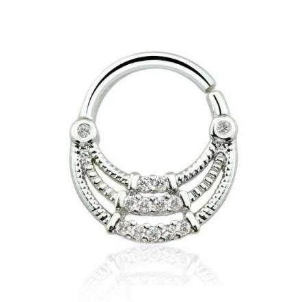 Silver Multi CZ Gem 16G Triple Layer Bendable Septum / Daith Piercing