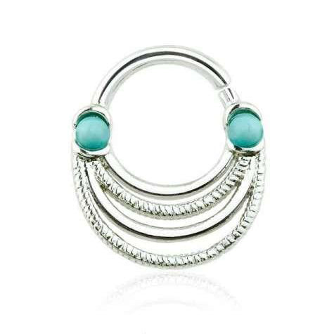 Double Turquoise Beads Four Layer Septum / Daith Clicker Ring