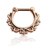 Rose Gold Rustic Intertwine Septum / Daith Clicker Piercing Ring