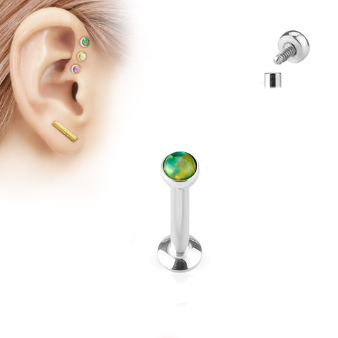 6mm Tragus Forward Helix Labret Monroe Lip Cartilage Bar Stud, Green Opal Labret Stud | Piercing Labret Monroe Levre Cartilage Barre 6mm, Embout Opale Verte