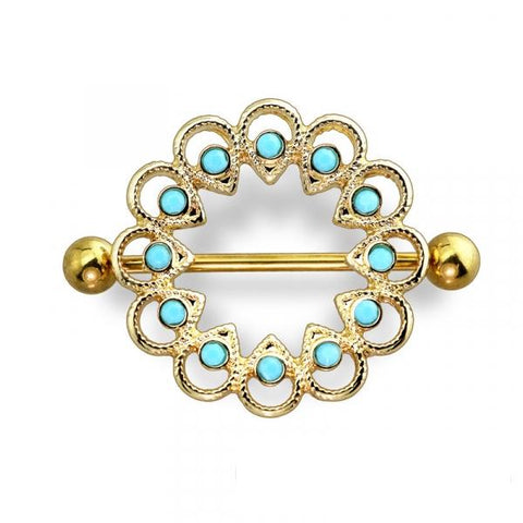 Turquoise Stone Embedded Nipple Shield, Gold Tribal Nipple Ring