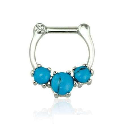 Rhodium Plated Prong Set Turquoise Stone Septum / Daith Clicker Ring