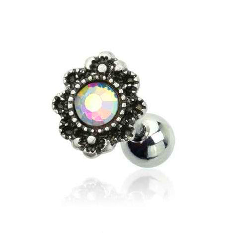 AB Gem Centered Vintage Silver Flower Design Cartilage Barbell