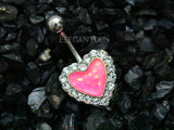 Non Dangle Pink Opal Heart Navel Ring