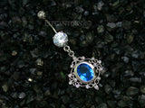 Filigree Design With Blue Crystal Dangle Belly Button Ring