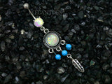 Boho Belly Button Ring, Turquoise Dangle Navel Ring