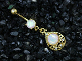 Opal Tear Drop Navel Ring, Gold Tear Dangle Belly Button Ring