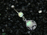 Silver Tear Dangle Belly Button Ring, Opal Tear Drop Navel Ring,