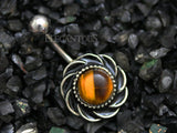 Silver Flower Belly Button Rings, Tiger Eye Gem Navel Ring