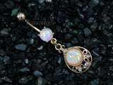 Opal Tear Drop Navel Ring, Rose Gold Tear Dangle Belly Button Ring