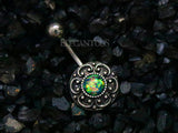 Dark Green Tribal Opal Belly Button Rings, Non Dangle Silver Belly Ring