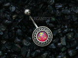 Pink Opal Tribal Belly Button Rings, Non Dangle Silver Shield Belly Ring