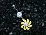 Gold Flower Dangle Belly Button Ring