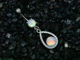 Opal Tear Drop Dangle Belly Button Ring, 316L Surgical Steel Navel Ring