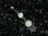 Hamsa Dangle Belly Button Ring, Opal Hamsa Belly Ring