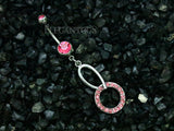 Pink Crystal Circle Dangle Belly Button Ring