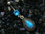 Turquoise Tear Drop Dangle Belly Button Ring