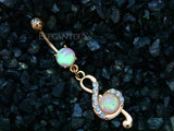 Rose Gold Clef Drop Dangle Belly Ring, Opal Navel Ring