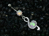 Opal Clef Drop Dangle Belly Ring