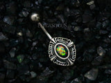 Dark Green Opal Tribal Button Ring, Non Dangle Belly Ring