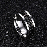 Black Chain Ring, Stainless Steel Band Ring
