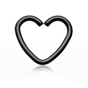 Black Heart Cartilage Tragus Daith Piercing, Upper Ear Piercing