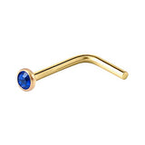 Dark Blue Crystal L Bend, Gold Nose Stud Ring