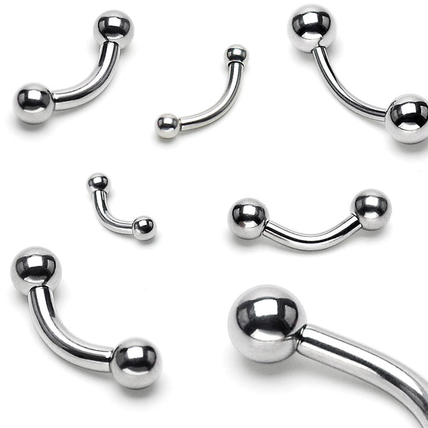 Silver Ball End Curved Barbell, Eyebrow, Rook, Daith, Tragus, Cartilage Barbell