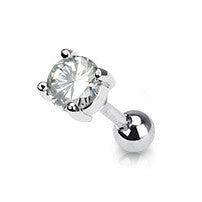 Round Crystal Prong Cartilage Helix Tragus Piercing Stud, Barbell Sparkling