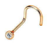 Rose Gold Nose Screw Ring, Clear Crystal Nose Stud