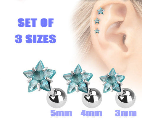 Set Of Three Sizes Blue Star Triple Helix Stud Cartilage Earring