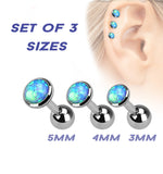20% OFF, Set Of Three Sizes Blue Opal Cartilage / Helix / Tragus / Barbell | REMISE DE 20%, Pack de 3 tailles Opale Bleue Cartilage / Helix / Tragus / Barbell