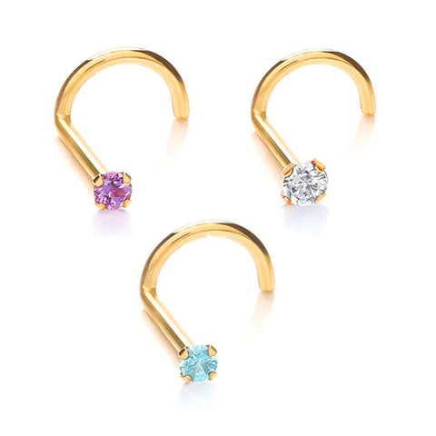 Set of Three Crystal Colors Nose Screw Ring