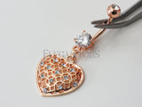 Rose Gold Heart Dangle Belly Button Ring