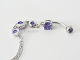 Purple Crystal Dangle Belly Button Ring With Chain End