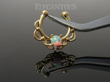 White Opal Fake Septum Ring, Non Piercing Gold Septum Ring