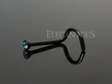 2mm Black Nose Screw Ring With Light Blue Crystal | Piercing Nasal Courbé Noir Cristal 2mm Bleu Clair