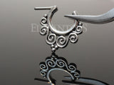 Silver Tribal Swirls Septum Ring, 16G Surgical Steel Septum Clicker Piercing