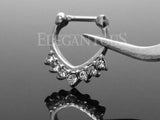 Chevron CZ Centered Septum Ring, Silver Clicker Nose Ring