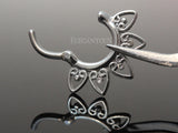 Heart Septum Ring, Silver Tribal Fan Daith / Cartilage Clicker Ring