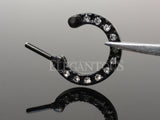 Black Clicker Septum Ring, Crystal Paved Round Septum Ring