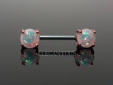 White Opal Nipple Barbell, Rose Gold Nipple Piercing