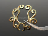 Gold Tribal Floral Clip On Nipple Ring, Non Piercing Flower Nipple Shield