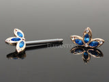 Blue CZ Petal Flower Nipple Barbell, Crystal Flower Nipple Ring